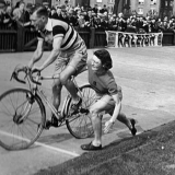 Tommy Godwin gets a push start from Billie Dovey