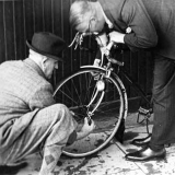 Charlie Davey and H.H. England make checks to the sealed speedometer