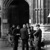 Tommy chats outside Canterbury Cathedral