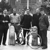 Tommy Godwin outside Winchester Cathedral with new sponsors Raleigh