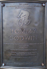 Memorial Plaque to Tommy Godwin outside Fenton Manor Sports Centre